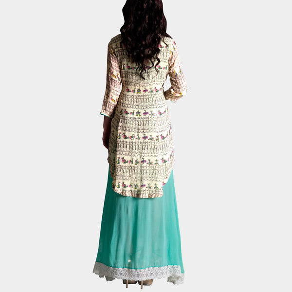 Cream Bird Print Short Kurta