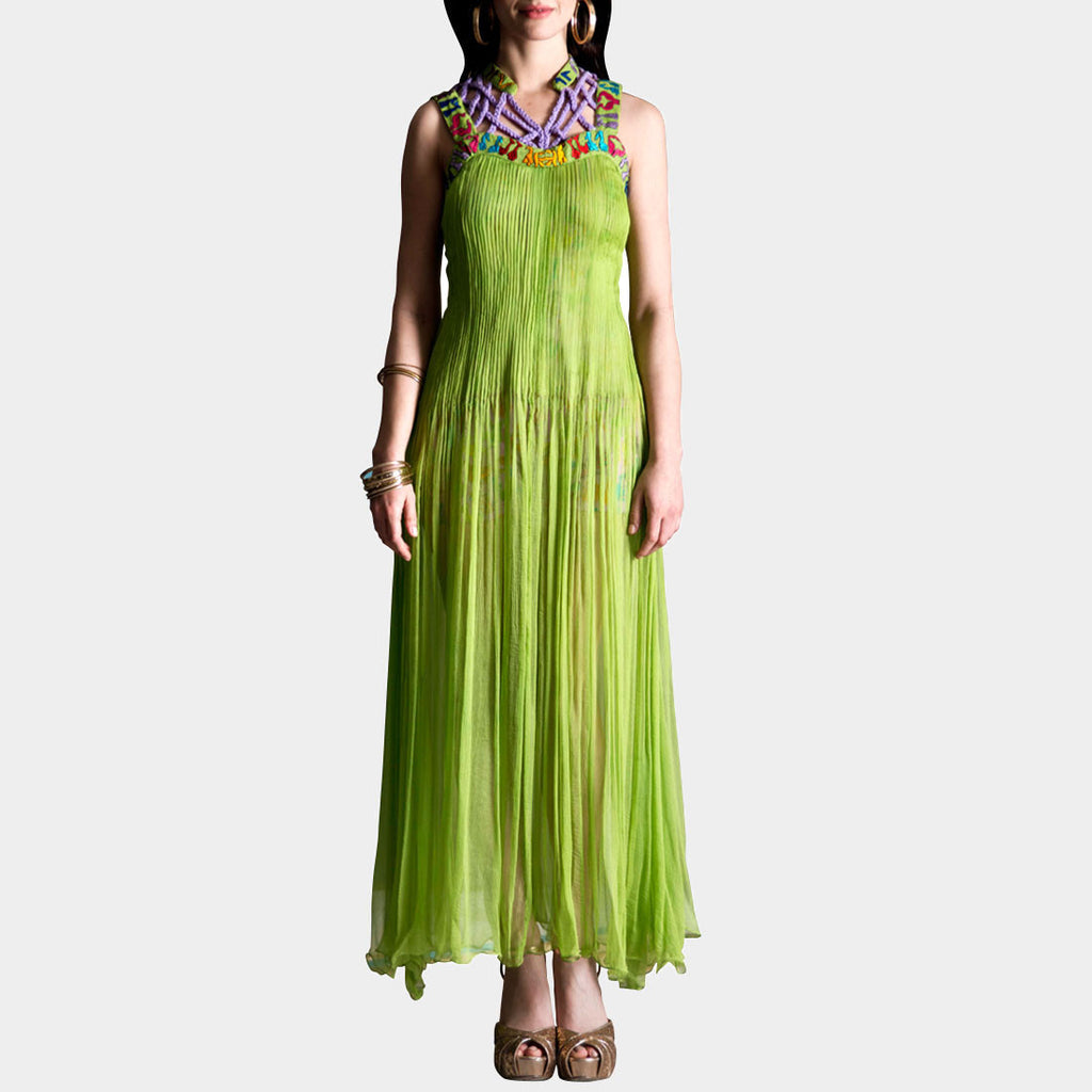 Parrot Green Chiffon Dress by SAMOR BY PRAGYA & MEGHA