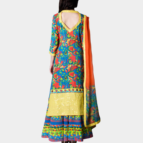 Long Colorful Kurta With Skirt And Stole