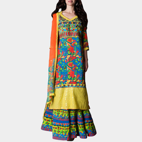 Long colorful kurta with skirt and stole by SAMOR BY PRAGYA & MEGHA