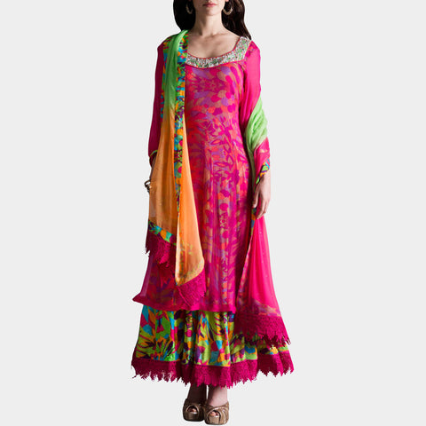Multicolor digital print anarkali by SAMOR BY PRAGYA & MEGHA
