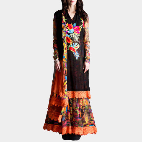 Black double kurta anarkali by SAMOR BY PRAGYA & MEGHA