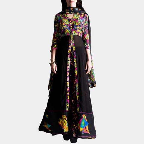 Blak georgette kurta with palazzos by SAMOR BY PRAGYA & MEGHA