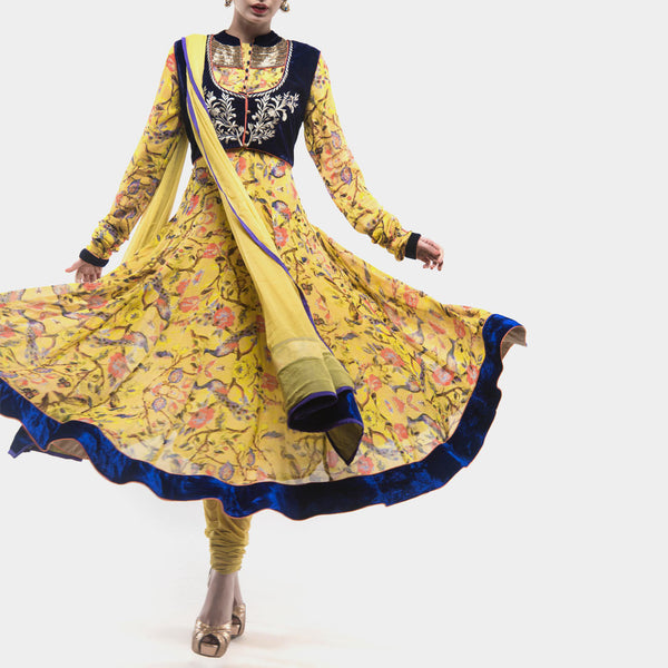 Lemon yellow peacock anarkali suit by SAMOR BY PRAGYA & MEGHA