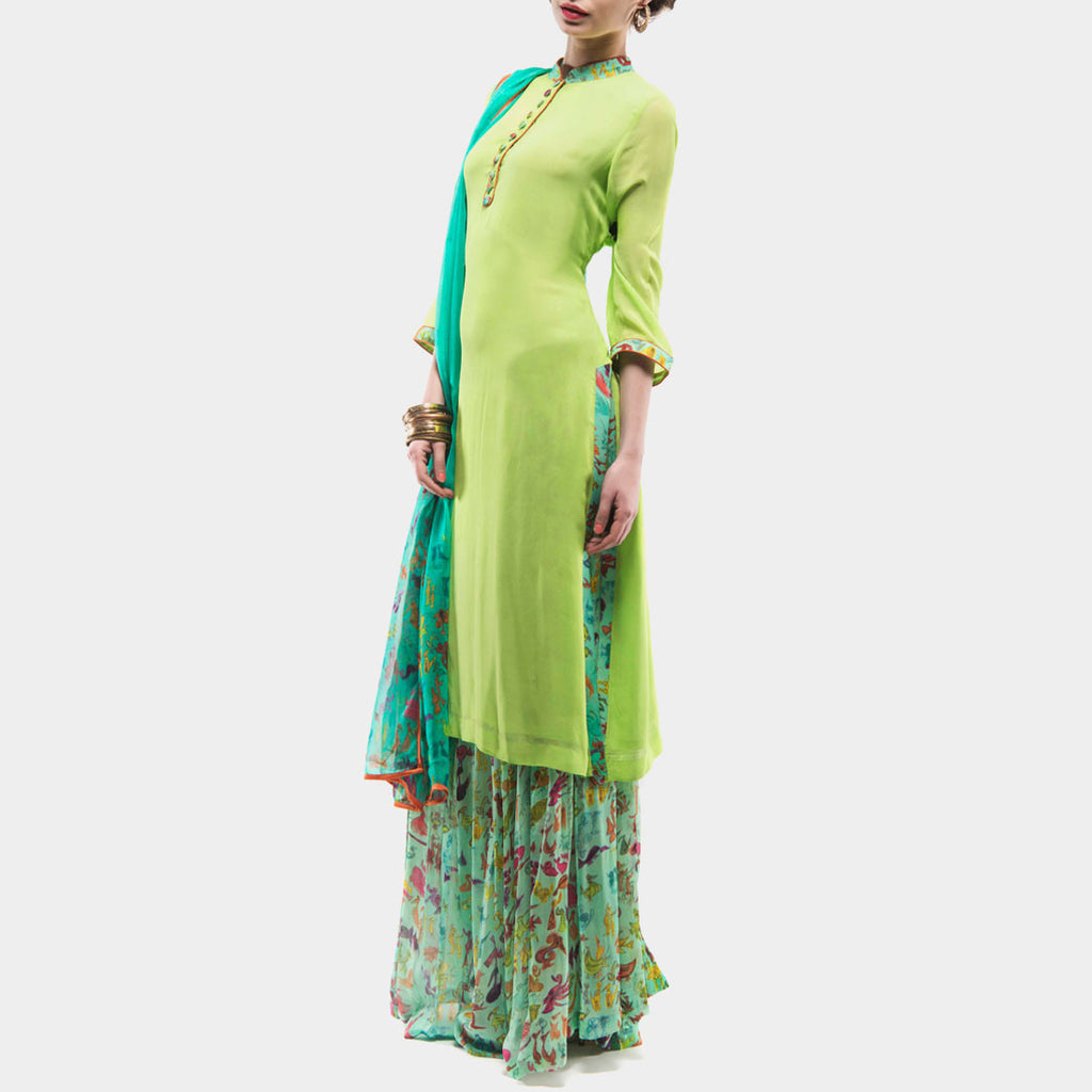 Parrot green kurta with printed palazzos and dupatta by SAMOR BY PRAGYA & MEGHA