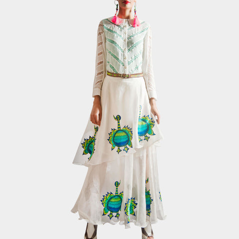 White Peacock Embroidered Shirt And Skirt by SAMOR BY PRAGYA & MEGHA
