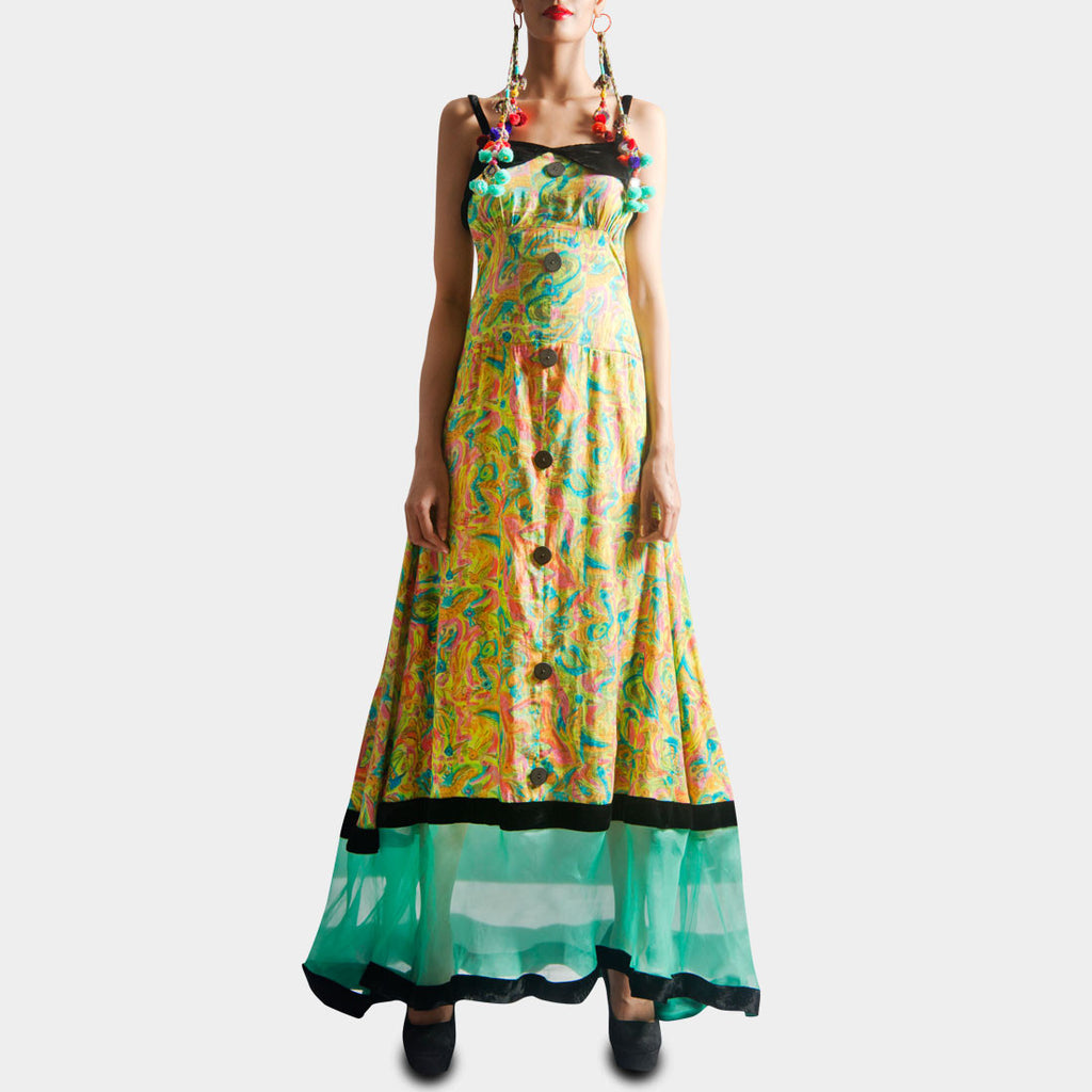 Colorful Printed Long Dress by SAMOR BY PRAGYA & MEGHA
