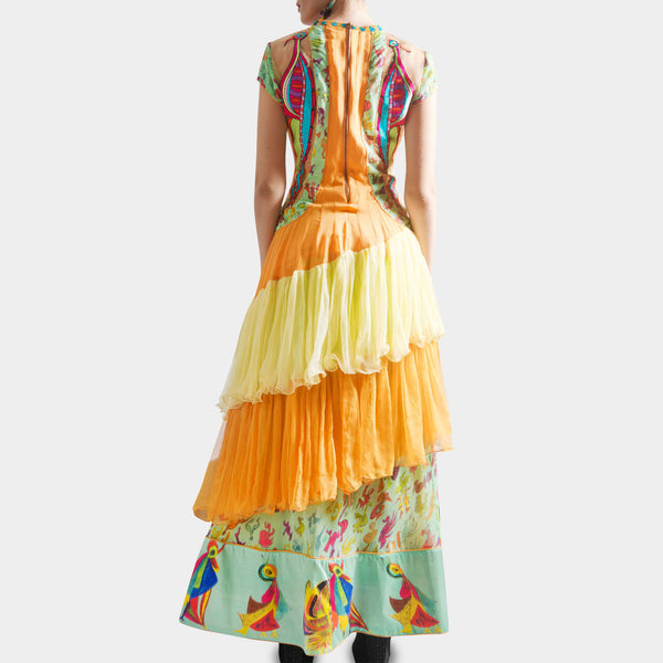 Orange & Green Anarkali