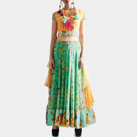 Orange & green Anarkali by SAMOR BY PRAGYA & MEGHA