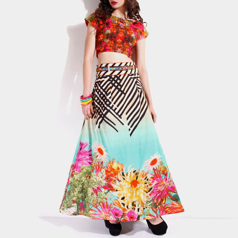 Circular Skirt & Crop Top Set by SAMOR BY PRAGYA & MEGHA