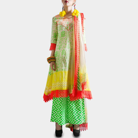 White & lime green kali suit with a dupatta & palazzo by SAMOR BY PRAGYA & MEGHA