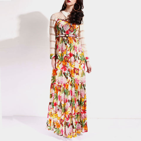 Floral Printed Ruffled Dress by SAMOR BY PRAGYA & MEGHA