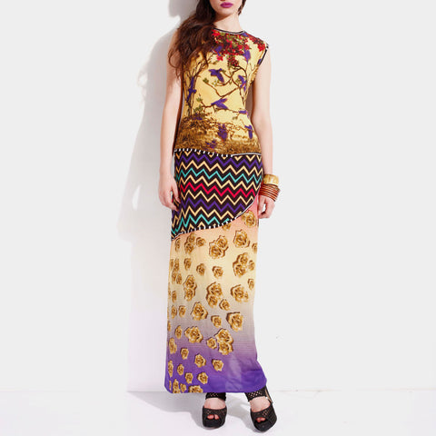 Triple Layered Printed Crepe Maxi Dress by SAMOR BY PRAGYA & MEGHA
