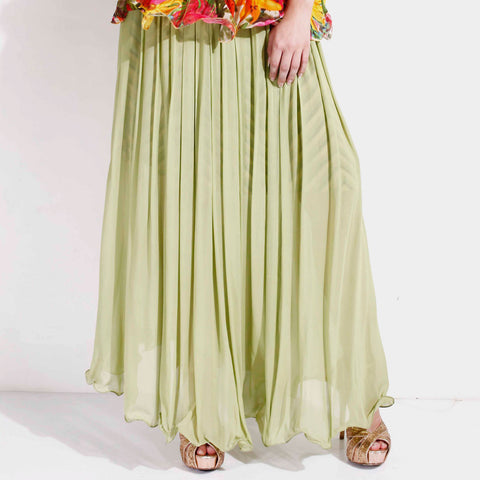 Pleated georgette flare skirt by SAMOR BY PRAGYA & MEGHA