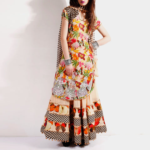 Creamy georgette bordered anarkali by SAMOR BY PRAGYA & MEGHA