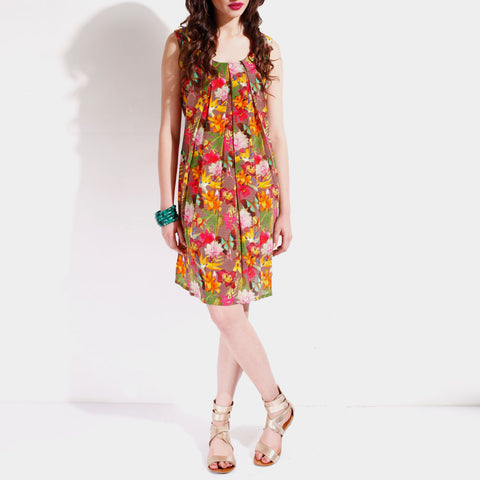 Georgette Floral Shift Dress by SAMOR BY PRAGYA & MEGHA