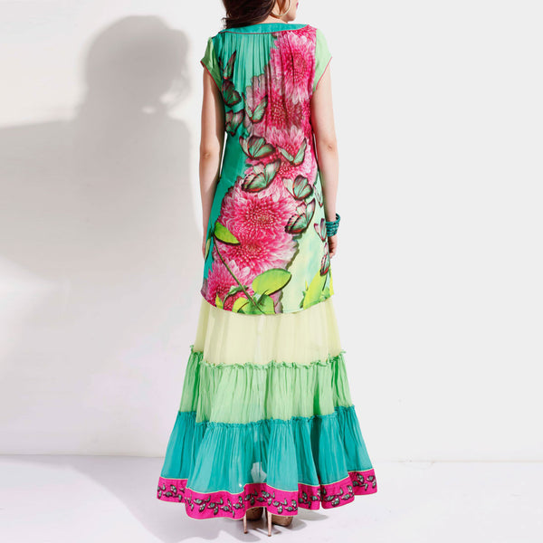 Sea Green Ruffled Anarkali