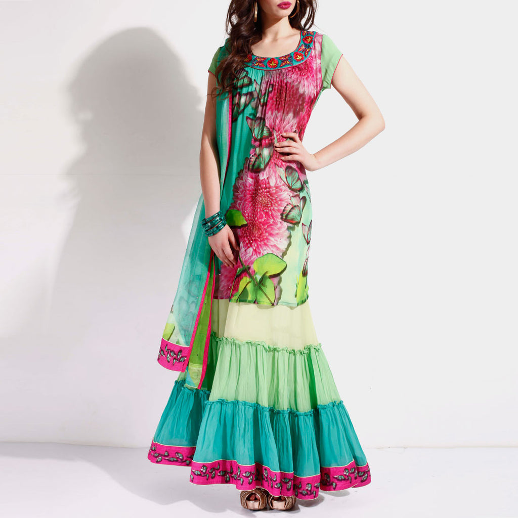Sea green ruffled anarkali by SAMOR BY PRAGYA & MEGHA