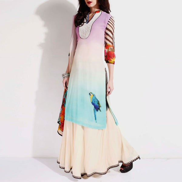 Shaded georgette kurta & skirt set by SAMOR BY PRAGYA & MEGHA