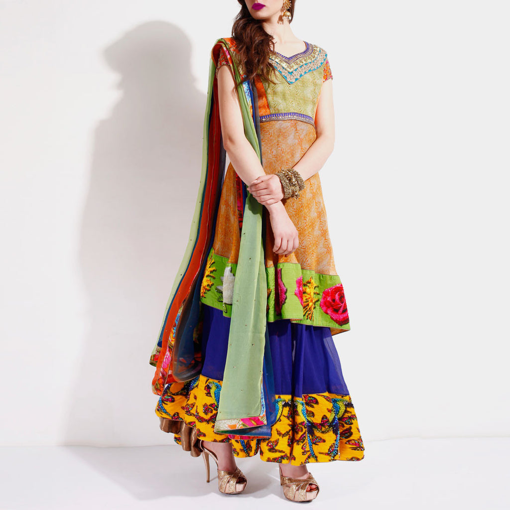 Digital panelled anarkali by SAMOR BY PRAGYA & MEGHA