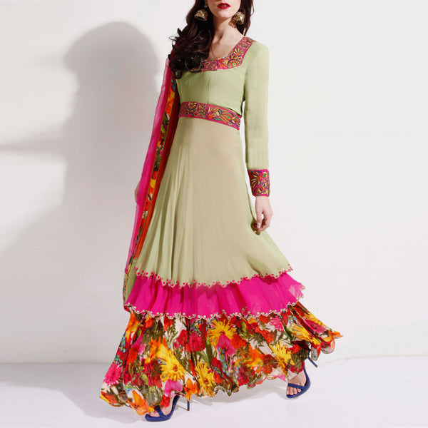 Georgette double layer circular anarkali& & skirt set by SAMOR BY PRAGYA & MEGHA
