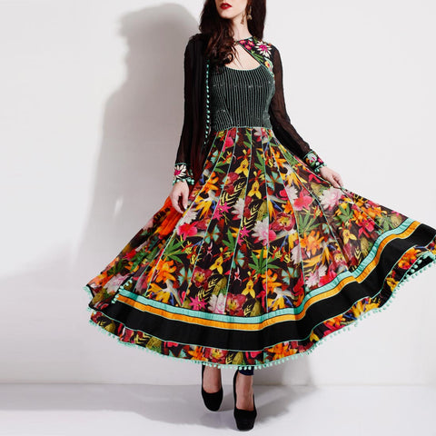 Floral embellished anarkali by SAMOR BY PRAGYA & MEGHA
