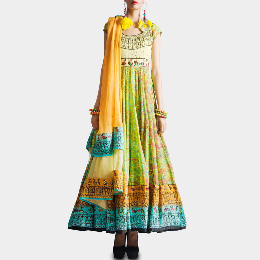 Parrot green bird print anarkali with dupatta by SAMOR BY PRAGYA & MEGHA