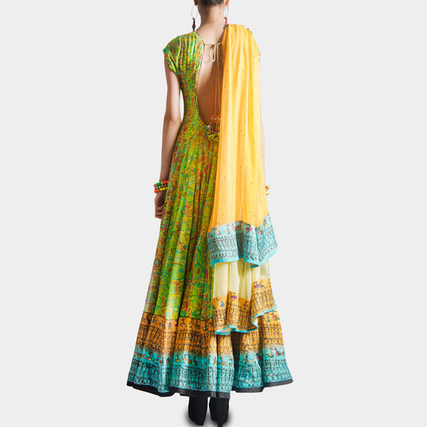 Parrot Green Bird Print Anarkali With Dupatta