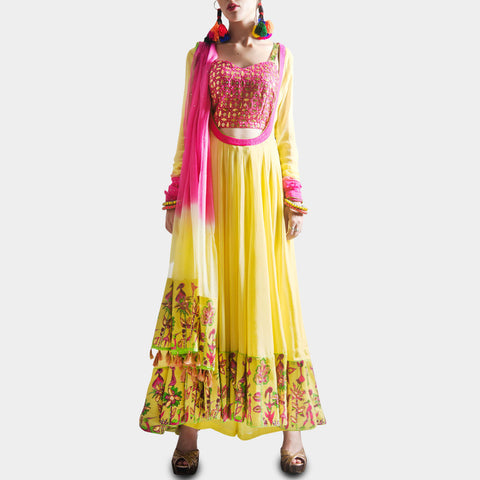 Lemon yellow anarkali with palazzo & a shaded dupatta by SAMOR BY PRAGYA & MEGHA