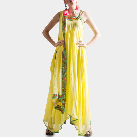 Lemon yellow suit with palazzos & dupatta by SAMOR BY PRAGYA & MEGHA