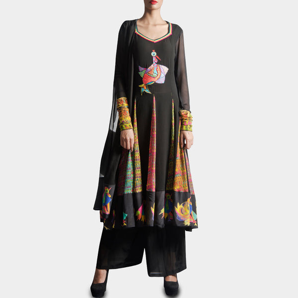 Black Anarkali with palazzo & dupatta by SAMOR BY PRAGYA & MEGHA