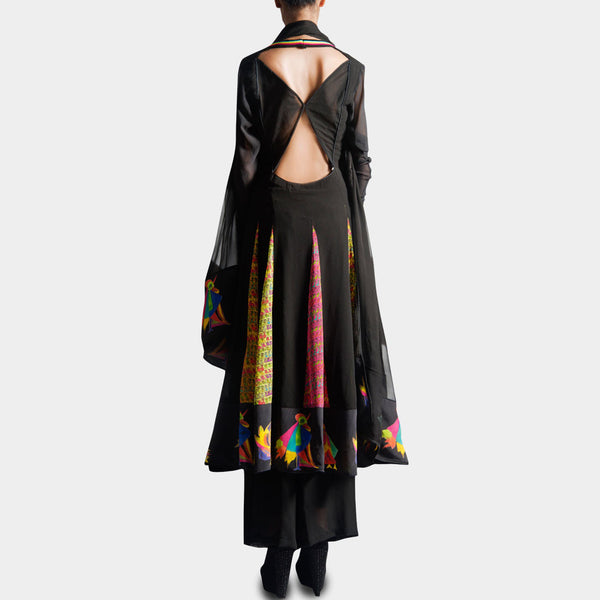 Black Anarkali With Palazzo & Dupatta