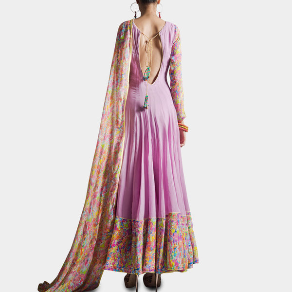 Mauve Anarkali With Attached Dupatta