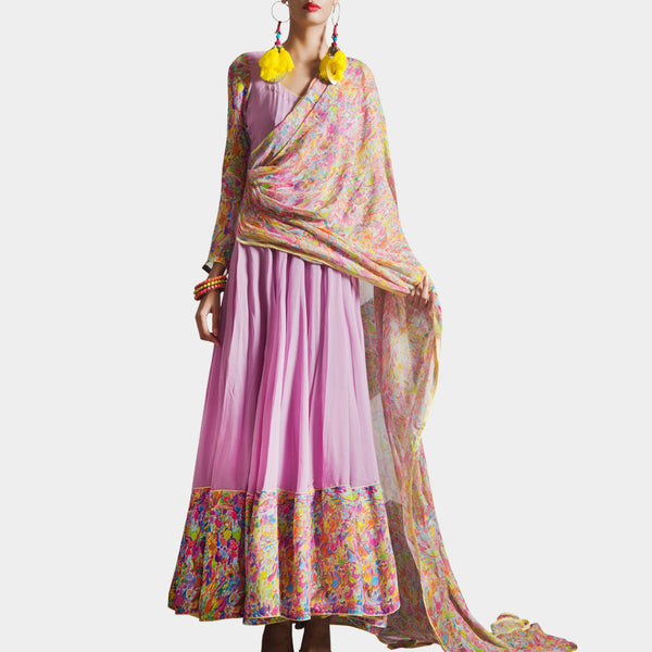 Mauve Anarkali with attached dupatta by SAMOR BY PRAGYA & MEGHA