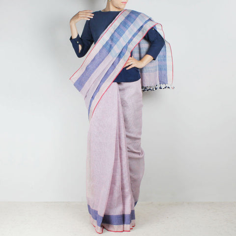 Handwoven Khadi Linen Pink And Blue Saree by SSaha