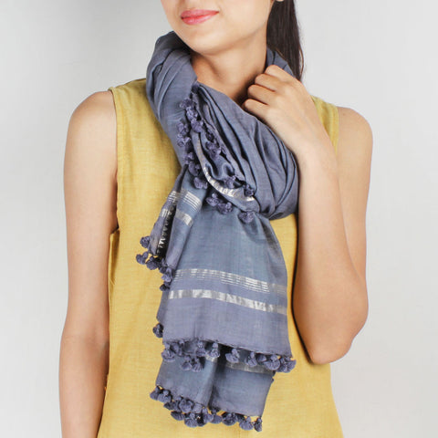 Silk Handwoven Grey Coloured Stole With Zari Work by SSaha