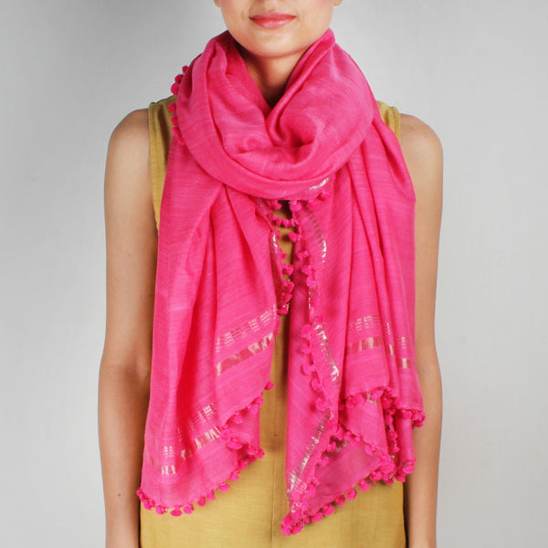 Silk Handwoven Pink Coloured Stole With Zari Work