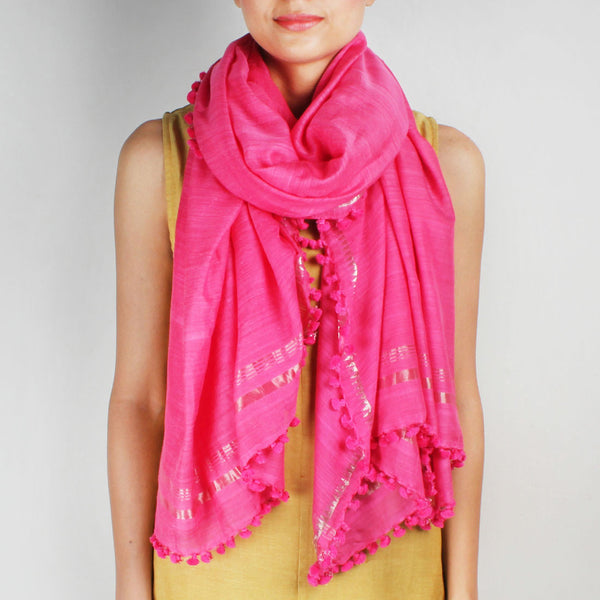 Silk Handwoven Pink Coloured Stole With Zari Work by SSaha