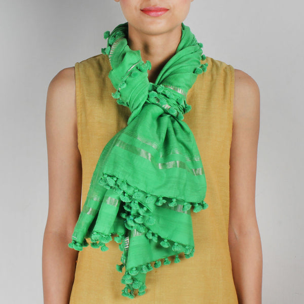 Silk Handwoven Green Coloured Stole With Zari Work
