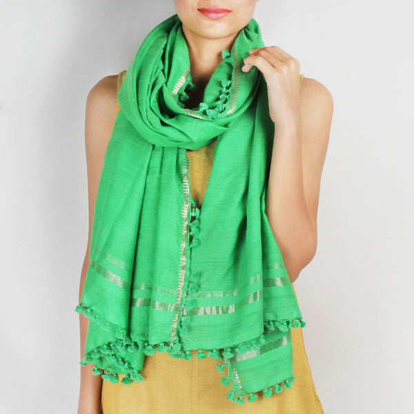 Silk Handwoven Green Coloured Stole With Zari Work by SSaha