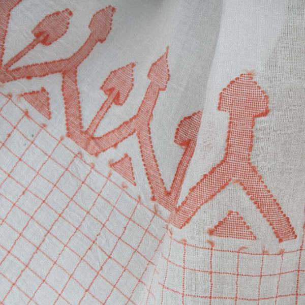 Khadi Handwoven White Stole With Chequered Motifs
