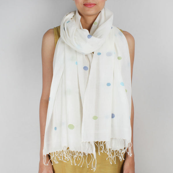 Khadi Handwoven White Stole With Multicoloured Dots