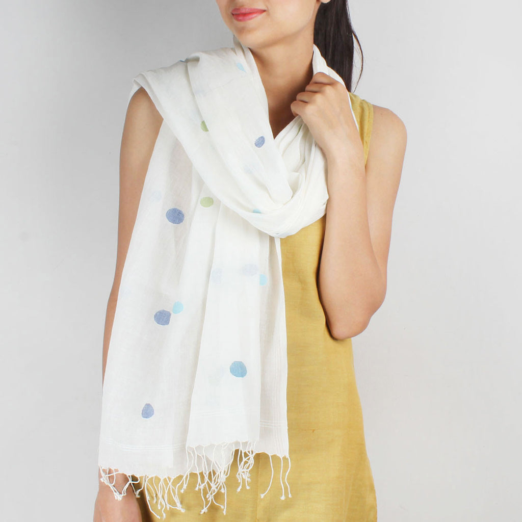 Khadi Handwoven White Stole With Multicoloured Dots by SSaha