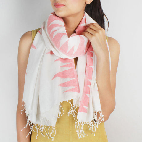 Khadi Handwoven White Stole With Bold Motifs by SSaha