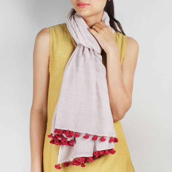 Khadi Handwoven White Stole With Brown Coloured Stripes by SSaha