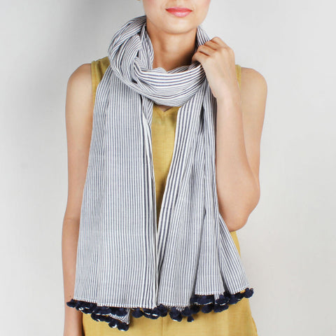 Khadi Handwoven White Stole With Blue Coloured Stripes by SSaha