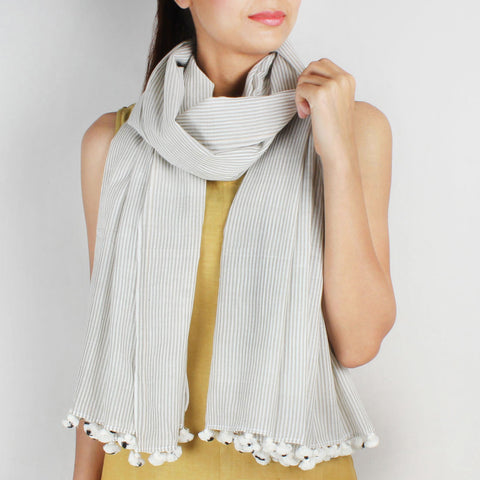 Khadi Handwoven White Stole With Olive Coloured Stripes by SSaha