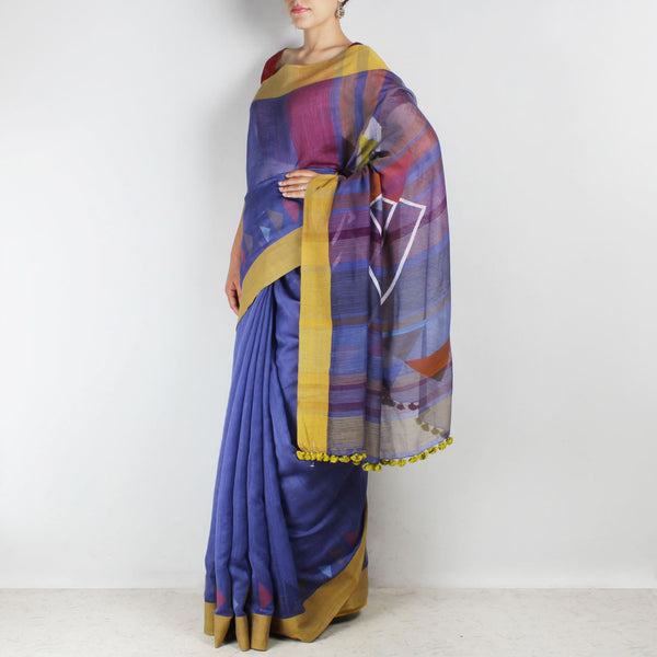Handwoven Khadi Cotton Purple Saree With Mustard Border