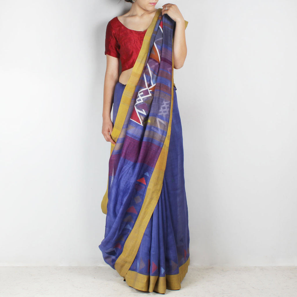 Handwoven Khadi Cotton Purple Saree With Mustard Border by SSaha
