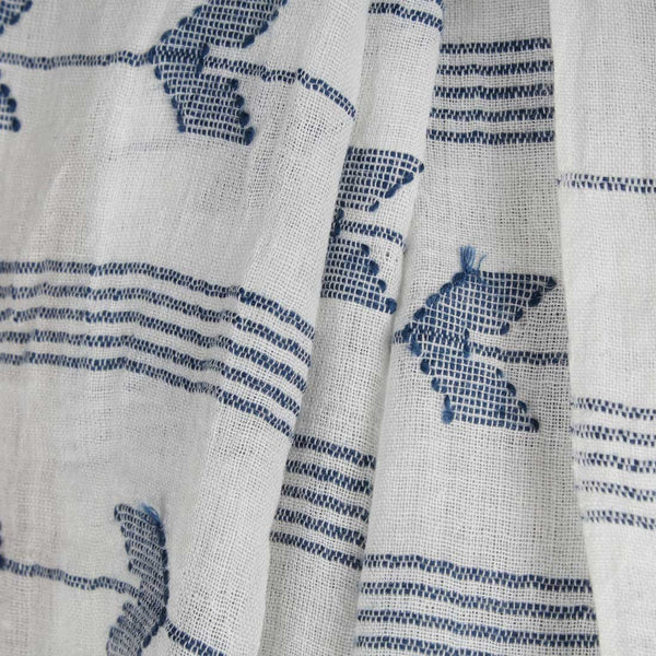 Khadi Handwoven White And Blue Stole With Stripes And Motifs